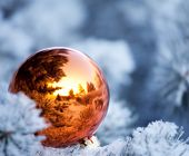 Christmas winter background. Christmas ball on tree