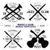 Vector Music and Club Badge Set. All pieces are separated and easy to edit.