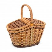 wicker basket with lid isolated on white background