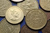 Coins of Denmark. Queen Margrethe II of Denmark and Danish national coat of arms depicted in Danish krone coins.