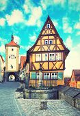 Old street in Rothenburg ob der Tauber, Bavaria, Germany.  Instagram style filter