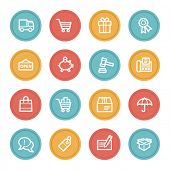 Shopping web icons, color circle buttons