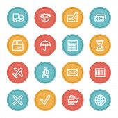 Delivery web icons, color circle buttons