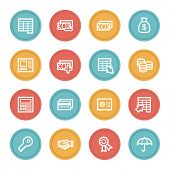 Finance and Banking web icons, color circle buttons