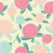 Seamless pattern with Abstract rose flowers. Vector illustration for your design. Paper, wrapping or Invitation or greeting card design