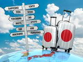 Travel concept. Suitcases and signpost what to visit in Japan. 3d
