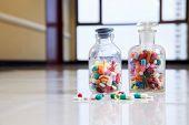 Bottle of tablets, capsules and medical drug