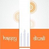 Poster of beautiful half rangoli and candle on orange, gray and white background.