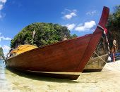 Tropical beach, longtail boats, Andaman Sea,