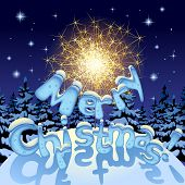 Vector image of a sparkler and Merry Christmas text with ice letters under snow on night  winter fir forest background. Greeting Christmas card and Xmas poster