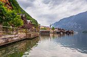 Architecture of Hallstatt village in Alps, Austria