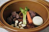Beef Stew With Stock In Pot
