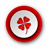 four-leaf clover red modern web icon on white background