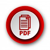 pdf red modern web icon on white background,