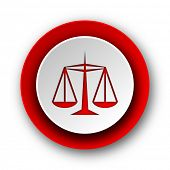 justice red modern web icon on white background