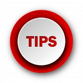 tips red modern web icon on white background