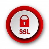 ssl red modern web icon on white background