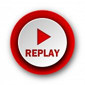 replay red modern web icon on white background