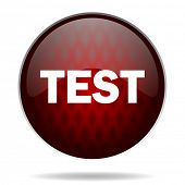 test red glossy web icon on white background