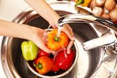 Woman's hands washing vegetables in sink in kitchen