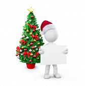 Santa morph holding placard