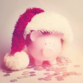 Piggy bank with Santa Hat - Instagram effect