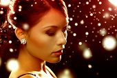 luxury, vip, nightlife, party, christmas, x-mas, new year's eve concept - beautiful woman in evening