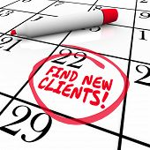 pic of clientele  - Find New Customers words written on a calendar date or day with red marker - JPG