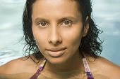 Close up of Indian woman in swimming pool