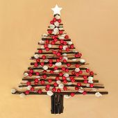 foto of willow  - Abstract christmas tree design with red bauble decoration - JPG