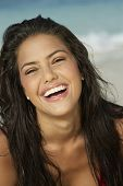 South American woman laughing