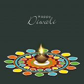 picture of laxmi  - Illustration of colourful rangoli with illuminated brown lit lamp in center and stylish text - JPG