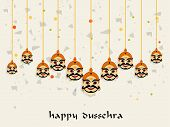 foto of ravana  - Ten hanging faces of Ravana with stylish Dussehra wishing text - JPG