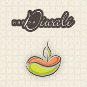 Sketch of illuminated colorful oil lit lamp and text Happy Diwali on seamless background.