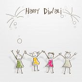 Kiddish illustrations with doodle of girls joining hands together, enjoing on occasion of Diwali.