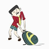 stock photo of heavy bag  - Cartoon character of a boy trying to pull his heavy bag  - JPG