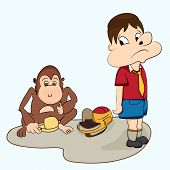 Cartoon character of a monkey having the lunch of school boy.