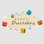 Illustration of beautiful text of happy Dussehra in a sky frame shape or crackers and Ravan face in frame corner on grey background.