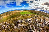 Fisheye view from the top of Helgafell Mountain in western Iceland