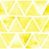 Seamless abstract watercolor retro triangular background. Colorful hipster pattern with triangle mosaic.  Art hand paint isolated on white background.