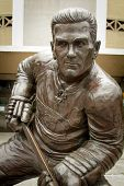 MONTREAL CANADA AUGUST 20, 2014: Close up of a statue of Maurice Richard also named