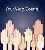 Election theme - people raising hands