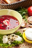 Beetroot and Cabbage Soup with Bread, Lard and Sour Cream