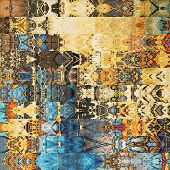 art abstract geometric horizontal stripes pattern textured background in blue, orange and brown colors