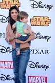 LOS ANGELES - OCT 1:  Jamie-Lynn Sigler, Beau Kyle Dykstra at the VIP Disney Halloween Event at Disney Consumer Product Pop Up Store on October 1, 2014 in Glendale, CA