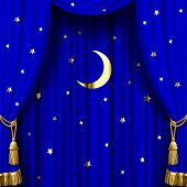 Blue curtain with gold tassels, moon and stars. Square theater and Christmas background. Artistic poster