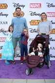 LOS ANGELES - OCT 1:  Jon Heder, Kirsten Heder, family at the VIP Disney Halloween Event at Disney Consumer Product Pop Up Store on October 1, 2014 in Glendale, CA