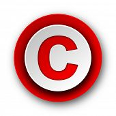 copyright red modern web icon on white background