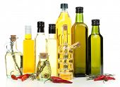 Different sorts of cooking oil, isolated on white