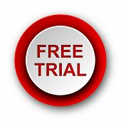 free trial red modern web icon on white background